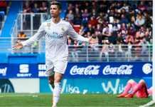 Cristiano Ronaldo menambahkan 2 gol pada laga lawan Eibar dalam total perolehan 18 golnya sejauh musim ini di Liga Spanyol