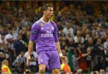 Cristiano Ronaldo merayakan golnya pada final Liga Champions 2016/2017 melawan Juventus