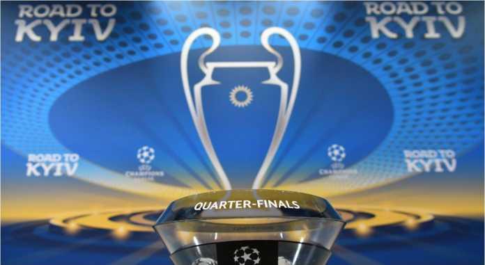 Suasana di meja drawing perempat final Liga Champions, Jumat, di markas UEFA di Nyon, Swiss