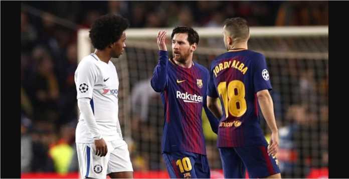 Lionel Messi adu argumen dengan Willian pada babak pertama leg kedua 16 besar Liga Champions antara Barcelona vs Chelsea