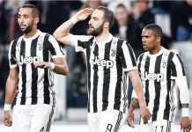 Perayaan para pemain Juventus usai gol Gonzalo Higuain ke gawang Atalanta pada laga Liga Italia, Kamis 15 Maret 2018