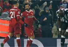 Striker Liverpool Mohamed Salah merayakan golnya ke gawang Newcastle United pada laga Premier League, Minggu dinihari WIB, 4 Maret 2018