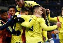 Para pemain Kolombia merayakan kemenangan 3-2 timnya atas tuan rumah Prancis, Sabtu dinihari WIB