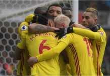 Troy Deeney merayakan satu-satunya gol Watford ke gawang West Brom pada laga Premier League, Sabtu