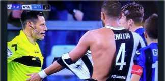 Perkelahian antara Marten De Roon dan Medhi Benatia mewarnai laga Juventus vs Atalanta, Kamis