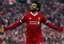 Mohamed Salah merayakan gol-golnya ke gawang Watford pada laga Liga Inggris, Minggu 18 Maret 2018 WIB