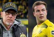 Pelatih Borussia Dortmund, Peter Stoger, kini memuji Mario Goetze setelah pemain itu dianggap berperan membuat Dortmund tersingkir dari Liga Europa.