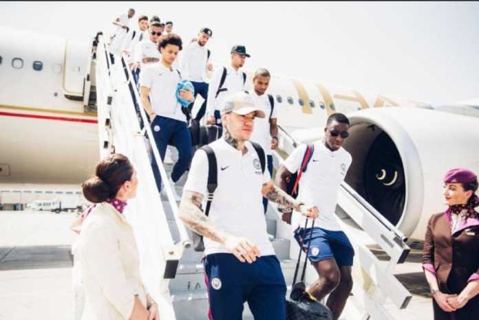 Skuad Manchester City gelar pemusatan latihan di Abu Dhabi, Uni Emirat Arab, setelah yakin akan jadi juara Liga Premier dalam dua pertandingan lagi.