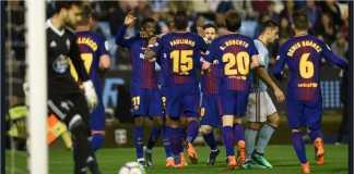 Para pemain Barcelona merayakan gol pertama Ousmane Dembele bagi Blaugrana pada laga LIga Spanyol di kandang Celta Vigo, Rabu.