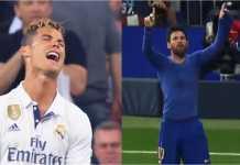 Dua ekspresi dari bintang Real Madrid Cristiano Ronaldo dan pemain Barcelona Lionel Messi di atas lapangan.