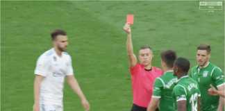 Pemain Leganes, Gabriel (tak terlihat di foto), menerima kartu merah saat memaki wasit usai laga di Real Madrid ditutup, Sabtu malam.
