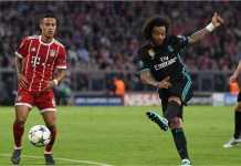 Tendangan Marcelo di akhir babak pertama berhasil menyamakan skor 1-1 pada laga semifinal leg pertama Liga Champions antara Bayern Munchen vs Real Madrid.