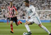 Cristiano Ronaldo ikut turun bermain pada laga Liga Spanyol antara Real Madrid vs Athletic Bilbao, Kamis dinihari, di Santiago Bernabeu.