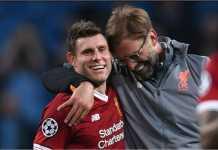 James Milner dan Jurgen Klopp berbagi ekspresi bahagia usai satu laga Liverpool.