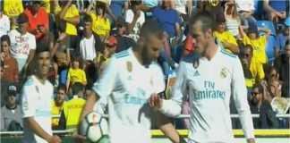 Karim Benzema dan Gareth Bale tampak bertengkar soal siapa yang menjadi eksekutor penalti Real Madrid pada laga Liga Spanyol di kandang Las Palmas, Minggu dinihari
