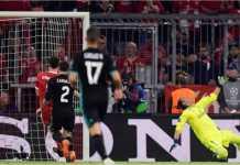 Adegan gol Joshua Kimmich untuk Bayern Munchen, yang mengirim bola ke tiang dekat Keylor Navas. Namun gol ini diawali kesalahan Marcelo yang tak berada di posisinya.