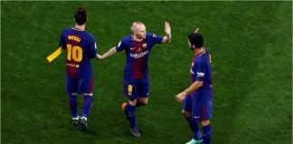 Lionel Messi bersama dua pemain penting Barcelona, kapten Andres Iniesta dan Luis Suarez