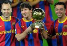 Lionel Messi, Andres Iniesta dan Xavi Hernandez