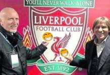 Roberto Pruzzo dan Bruno Conti duo legenda AS Roma di depan logo Liverpool