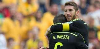 Sergio Ramos katakan, kapten Barcelona Andres Iniesta layak raih Ballon dOr.