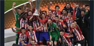 Pemain dan staf Atletico Madrid meluapkan kegembiraan setelah menjuarai Liga Europa, pekan lalu.