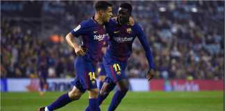 Philippe Coutinho dan Ousmane Dembele merayakan gol pertama Barcelona ke gawang Villarreal, Kamis, pada lanjutan Liga Spanyol.