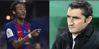 Ernesto Valverde enggan samakan Neymar dengan kapten Barcelona, Andres Iniesta, meski masih syok dengan kepergian bintang Brasil itu ke PSG.