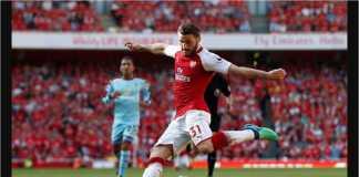 Sead Kolasinac mencetak gol keempat Arsenal pada laga Liga Inggris melawan Burnley, Minggu.