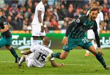 Adegan usai Manolo Gabbiadini mencetak gol satu-satunya Southampton ke gawang tuan rumah Swansea City, untuk membawa The Saints menjauh dari zona degradasi.