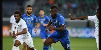 Mario Balotelli mencetak satu gol saat melawan Arab Saudi Selasa dinihari. Ia baru saja kembali ke tim nasional Italia setelah 4 tahun absen.