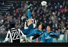 Gol salto Cristiano Ronaldo saat melawan Juventus pada ajang Liga Champions.
