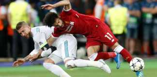 Sergio Ramos dan Mohamed Salah, Liga Champions Real Madrid vs Liverpool