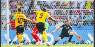 Romelu Lukaku mencetak gol kedua Belgia saat menghadapi Tunisia di Piala Dunia 2018, Sabtu malam.