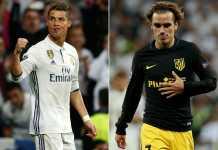 Bintang Real Madrid Cristiano Ronaldo dan Bintang Atletico Madrid Antoine Griezmann