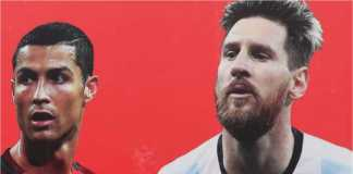 Potret Cristiano Ronaldo dalam seragam Portugal dan Lionel Messi dalam jersey Argentina
