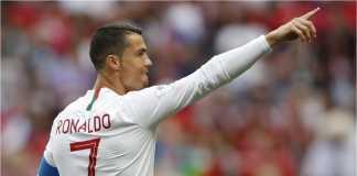 Cristiano Ronaldo dalam salah satu laga Portugal di penyisihan grup Piala Dunia 2018. Portugal akan bertemu Uruguay di babak 16 besar nanti.