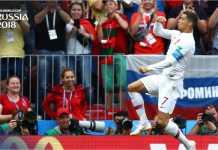Cristiano Ronaldo merayakan gol tunggalnya ke gawang Maroko dan membawa Portugal memuncaki Grup B Piala Dunia 2018.