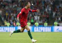 Cristiano Ronaldo merayakan gol-golnya ke gawang Spanyol pada laga Piala Dunia 2018, Sabtu dinihari.