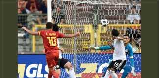Striker Belgia Eden Hazard mencetak satu gol dalam laga melawan Mesir yang usai dengan skor 3-0.