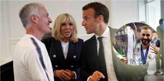 Pelatih timnas Perancis Didier Descamps bersama Presiden Perancis Emmanuel Macron saat timnas pamit di Istana Kepresidenan.