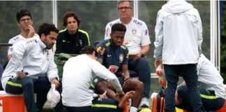 Pemain baru Manchester United, Fred, cedera dalam sesi latihan Timnas Brasil.