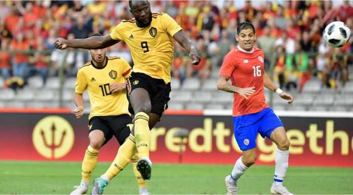 Romelu Lukaku mencetak gol bagi Belgia pada laga persahabatan, Selasa dinihari. Skor akhir 4-1 untuk kemenangan Belgia.