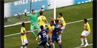 Yuya Osako menanduk bola untuk menjadi gol kedua bagi Jepang, pada laga Grup H Piala Dunia 2018, melawan Kolombia, Selasa malam.