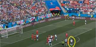 Gol Pertama Inggris vs Panama; Lihat posisi pencetak gol, John Stones. Dia berdiri di luar kotak, luput dari pengawalan lawan.