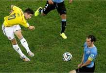 James Rodriguez in action pada Piala Dunia 2014 Brasil, saat mana ia meraih Sepatu Emas.