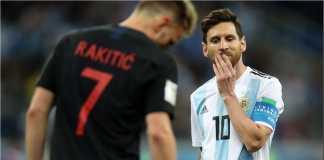 Lionel Messi dan Ivan Rakitic yang saling bersahabat di Barcelona, harus berhadapan satu sama lain pada laga Argentina vs Kroasia di Piala Dunia 2018