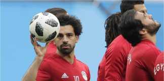 Mohamed Salah dalam salah satu sesi latihan Mesir menjelang laga melawan Rusia di Piala Dunia 2018, Rabu dinihari.