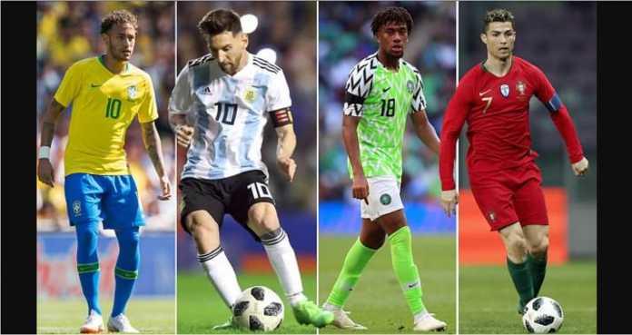 Neymar, Lionel Messi, dan Cristiano Ronaldo menjadi pemain termahal dalam skuad tim nasional mereka masing-masing di Piala Dunia 2018