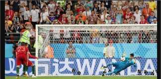 Striker Portugal Cristiano Ronaldo harus melihat satu sepakan penaltinya diselamatkan kiper Iran pada laga Piala Dunia 2018, Selasa dinihari.