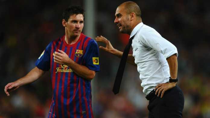 Pep Guardiola bersama Lionel Messi saat masih menjadi manajer FC Barcelona